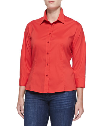 3/4-Sleeve Button Shirt, Red