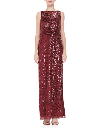 Sleeveless Blouson Beaded Gown, Merlot