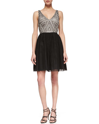 Sleeveless Beaded Bodice Cocktail Dress