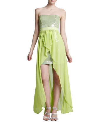 Chiffon-Skirt Sequined High-Low Cocktail Dress