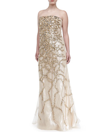 Strapless Allover Beaded Sequin Gown, Champagne