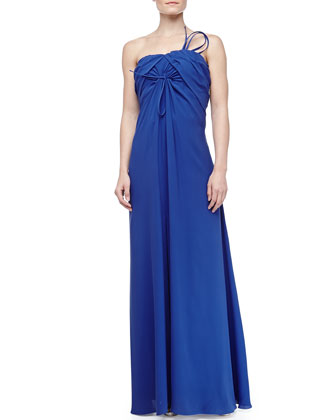 Strapless Bow Decorated Silk Crepe Gown, Royal Blue
