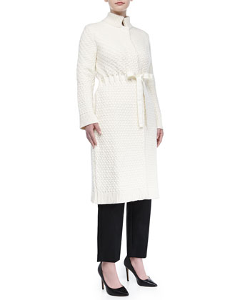 Textured Wool-Blend Ribbon-Belted Coat, Ivory