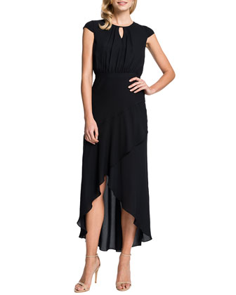 Adeline Keyhole-Neck High-Low Dress