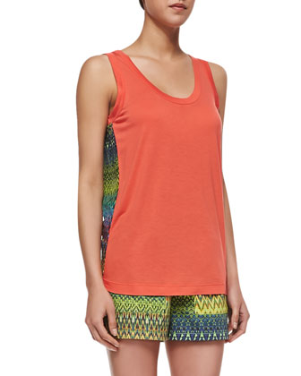 Zigzag-Back Tank Top, Coral/Multicolor