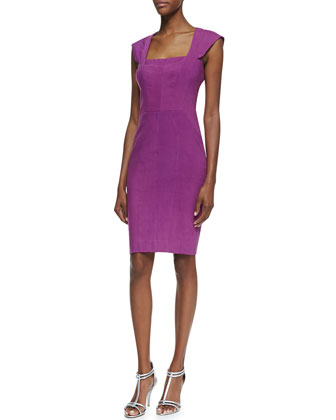 Square-Neck Cocktail Sheath Dress