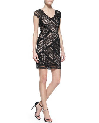 Cap-Sleeve V-Neck Lace Cocktail Dress, Black