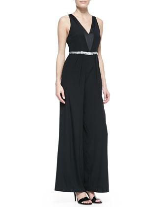 Sleeveless V-Neck Beaded-Waist Jumpsuit, Black