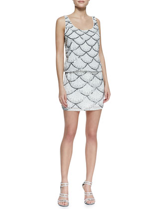 Sleeveless Scalloped Sequin Cocktail Dress, Ivory/Multicolor