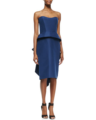 Strapless Peplum Cocktail Dress, Navy