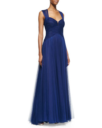 Sleeveless Draped Sweetheart-Neck Gown, Royal Blue