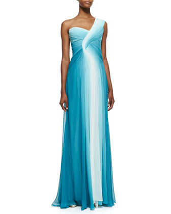 One-Shoulder Draped Ombre Gown, Teal/White