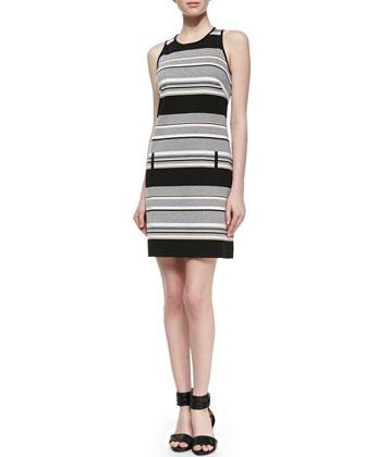 Sleeveless Striped Ponte Dress