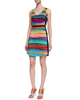 Frieda Sleeveless V-Neck Dress, Multicolor