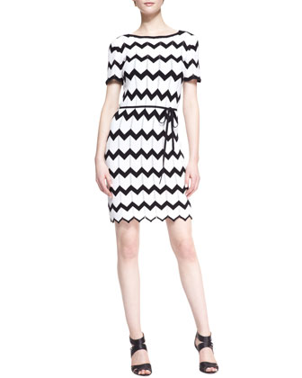Carlotta Knit Zigzag-Stitch Dress