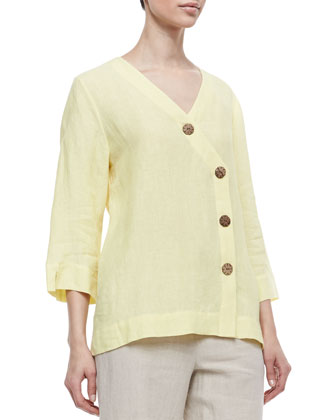 Long Sleeve Tunic with Large Notched Buttons