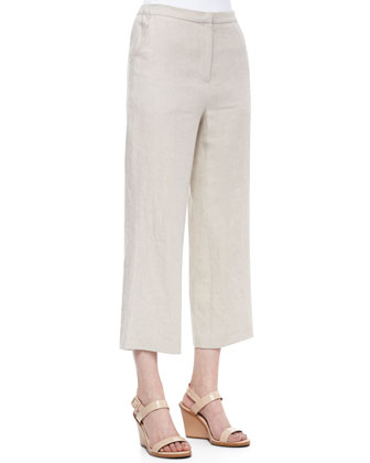 Casual Linen Ankle Pants