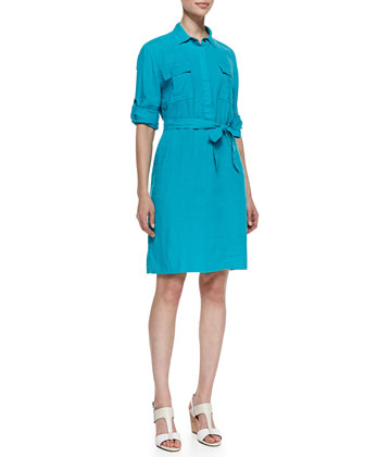 Two Palms Patch-Pocket Shirtdress