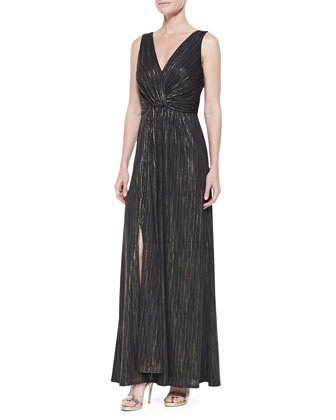 Metallic Striped Sleeveless Gown