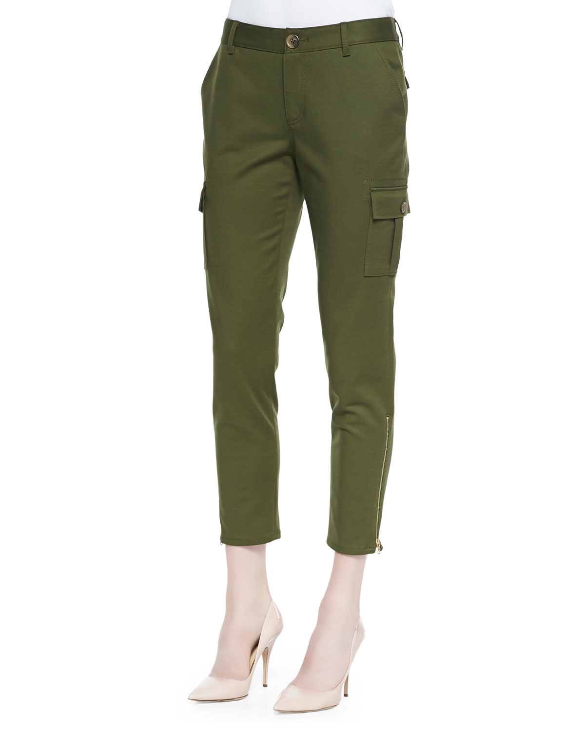 Womens cropped slim cargo pants with zip cuffs   kate spade new york   Alma