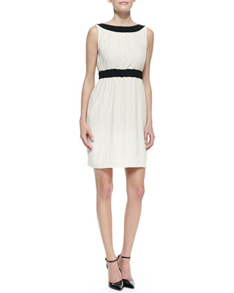 sleeveless colorblock fluid crepe sheath dress, raw almond/black