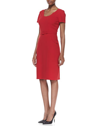 Short-Sleeve Belted Sheath Dress, Crimson