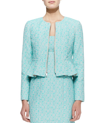 Crazy For You Zip-Front Jacket & Demure Square-Neck Sleeveless Dress