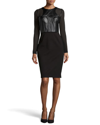 Riley Leather and Jersey Combo Sheath Dress, Black