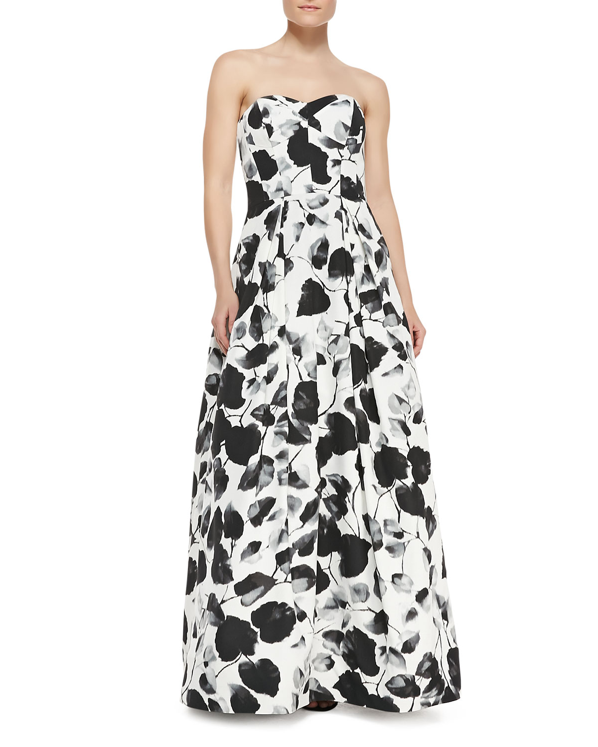 Womens Ava Floral Print Strapless Gown   Milly   Black/White (0)