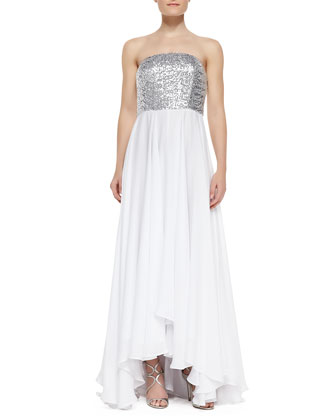 Layne Sequin & Jersey Strapless High-Low Gown