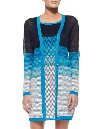 Long Open-Stitch Colorblock Cardigan & Striped Open-Stitch Tank Dress