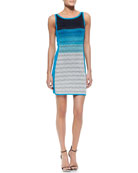 Striped Open-Stitch Tank Dress