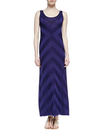 Sleeveless Peaked Striped Summer Knit Maxi Dress, Navy/Purple