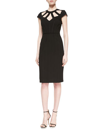 Ronesha Yoke-Cutout Dress, Black