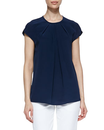 Silk Pleated Short-Sleeve Top, Navy