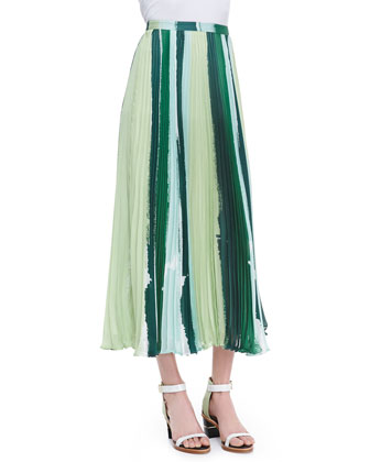 Koa Long Paint-Print Pleated Skirt