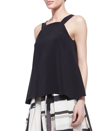 Hawika Sleeveless Silk Trapeze Blouse