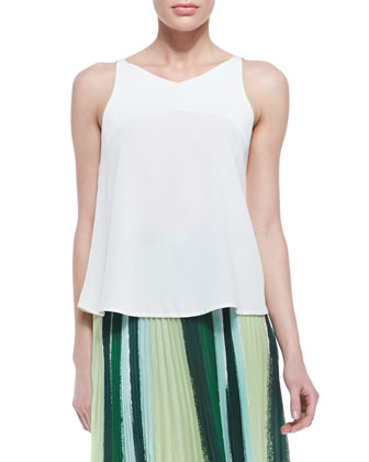 Pua Silk Floaty Tank Top & Koa Paint-Print Pleated Skirt