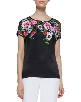 Floral-Print Combo Short-Sleeve Top