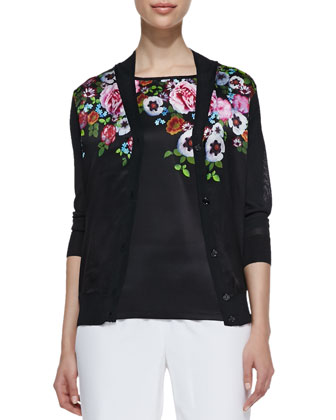 Floral-Print Cardigan, Floral-Print Combo Short-Sleeve Top & Washed Silk ...