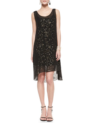 Half-Sleeve Shrug & Sleeveless Tarnished Sequins Dress