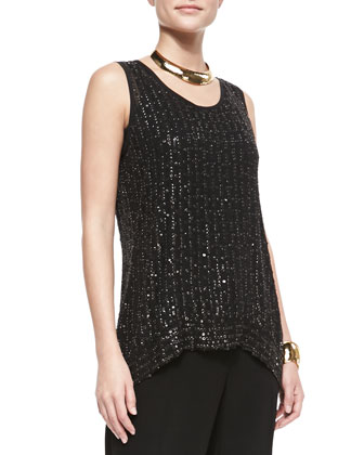 Sequin Raindrop Knit Shell, Silk Jersey Long Slim Camisole & Eco Tropical ...