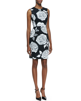 abbey sleeveless aires rose sheath dress, black/white