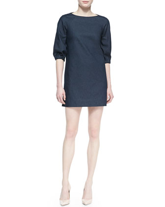 blouson-sleeve denim shift dress, dark blue