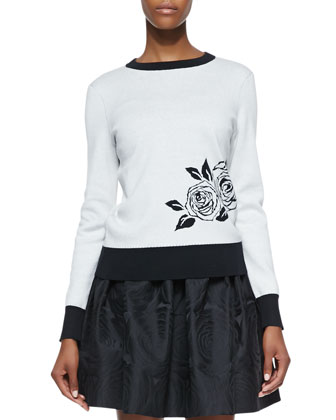 rose intarsia sweater, cream/black