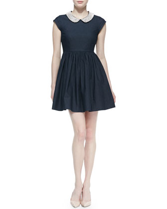 kimberly denim crystal-collar dress