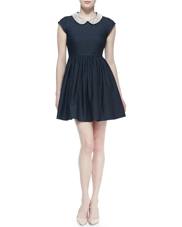 Womens kimberly denim crystal collar dress   kate spade new york   Dark blue