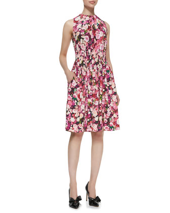 sleeveless rose-print back-tie dress