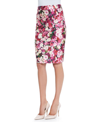 rose-print cotton-silk pencil skirt