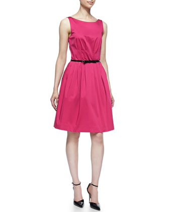 sonja sleeveless cocktail dress with skinny bow belt